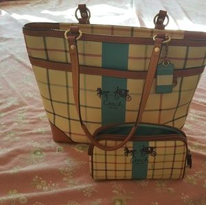 Coach handbag and makeup bag